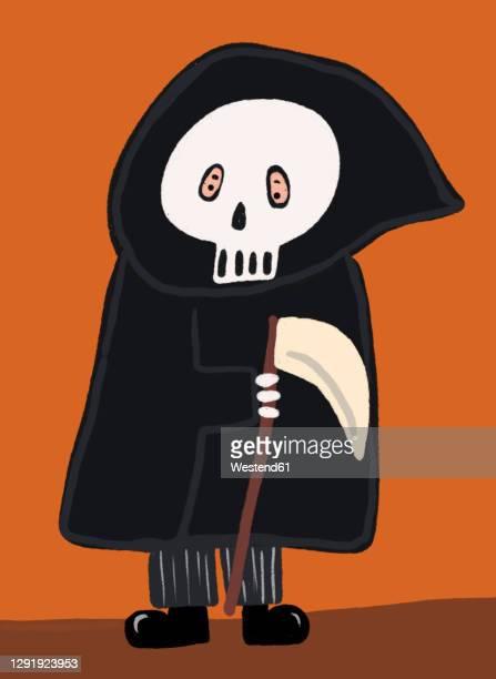 clip art of person wearing grim reaper costume - headwear stock illustrations