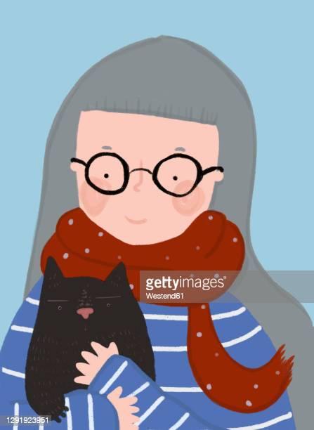 clip art of senior woman wearing eyeglasses holding pet cat - 年配の女性点のイラスト素材/クリップアート素材/マンガ素材/アイコン素材