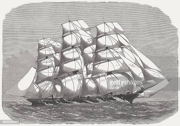 clipper ship with all sails. wood engraving, published in 1872 - sail stock illustrations, clip art, cartoons, & icons