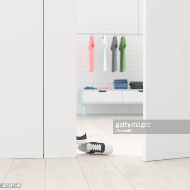 Cloakroom behind ajar door, 3d rendering