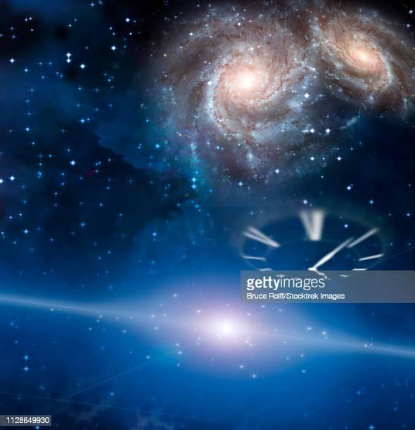 ilustraciones, imágenes clip art, dibujos animados e iconos de stock de clock and space - galaxiaespiral