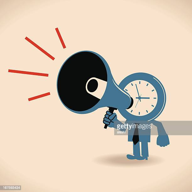 Clock character shouting in a megaphone