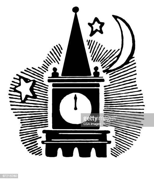 clock tower - steeple stock illustrations, clip art, cartoons, & icons
