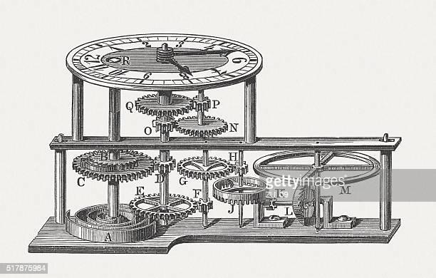 ilustraciones, imágenes clip art, dibujos animados e iconos de stock de mecanismo de un reloj de bolsillo, grabado en madera, publicado 1880 - reloj de bolsillo