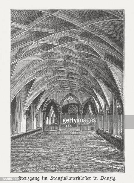 cloister, franciscan monastery, gdansk (danzig), wood engraving, published 1884 - gdansk stock illustrations