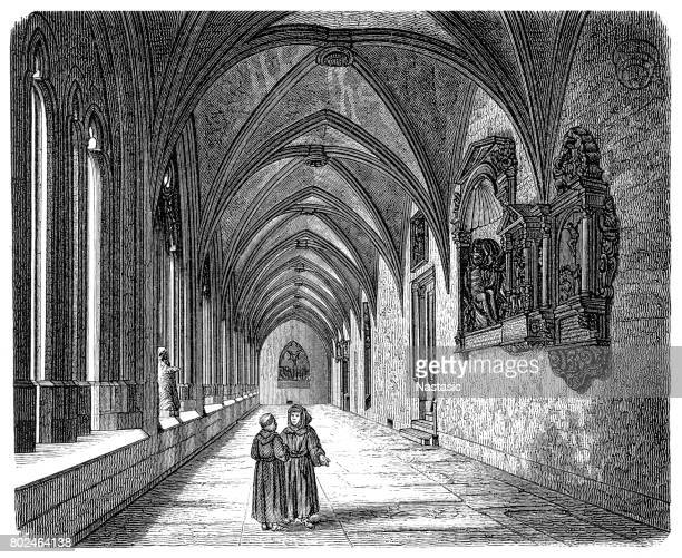 cloister in mainz cathedral, germany - bishop clergy stock illustrations, clip art, cartoons, & icons