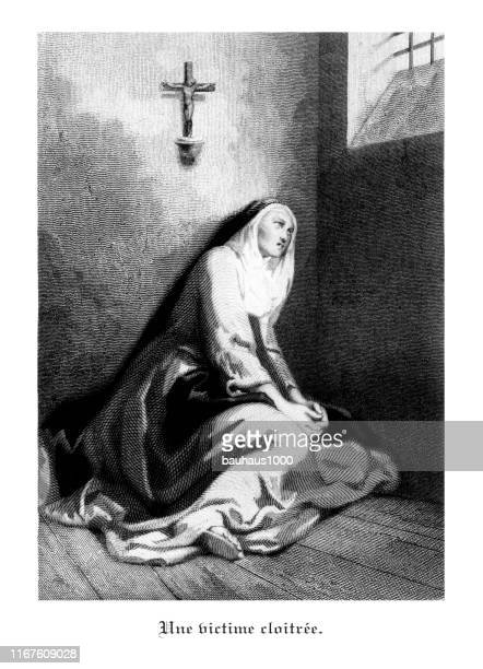 cloitree victim, antique french engraved illustrations of les couvents (the convent), 1846 - nun stock illustrations