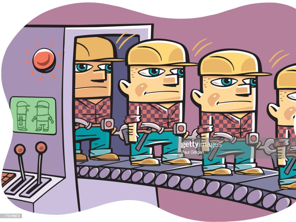 Cloned workers coming out of a machine on a conveyor belt : Illustration