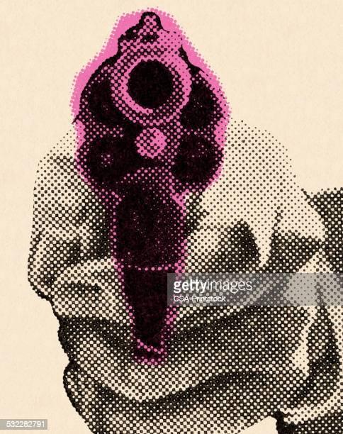 close range handgun - murderer stock illustrations