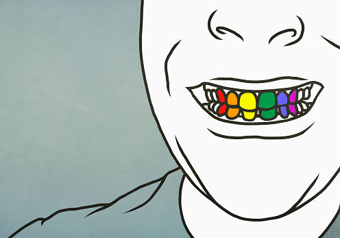 Close up man with toothy smile showing rainbow teeth - gettyimageskorea