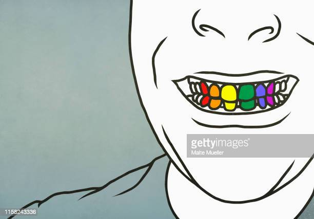close up man with toothy smile showing rainbow teeth - ゲイ点のイラスト素材/クリップアート素材/マンガ素材/アイコン素材