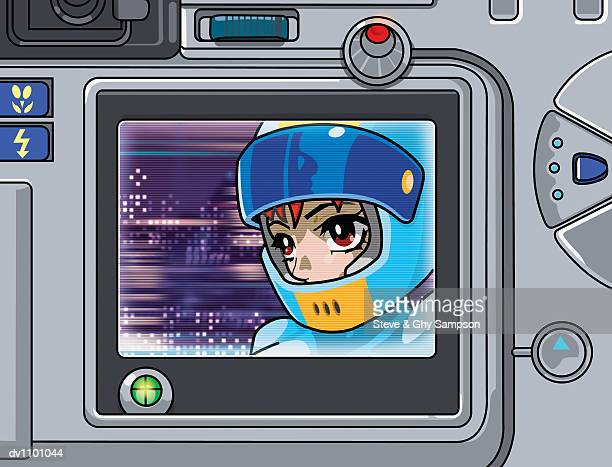 close up of a futuristic television showing a young woman wearing a crash helmet - obscured face stock illustrations, clip art, cartoons, & icons