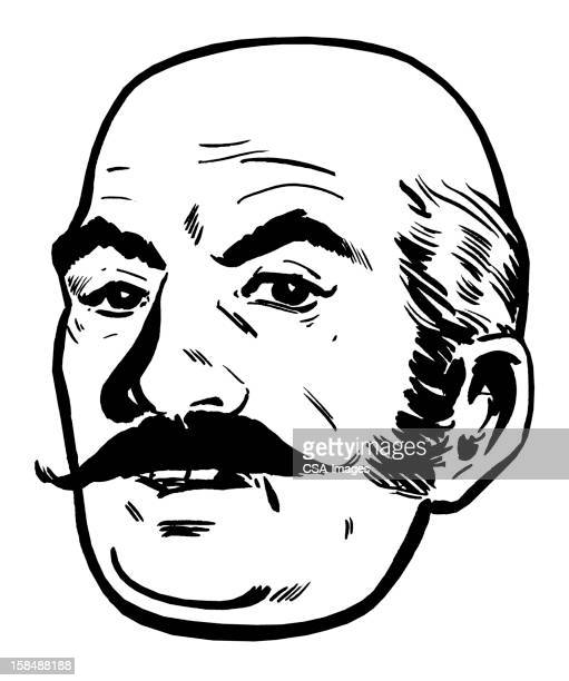 Close up of Bald Man With Mustache