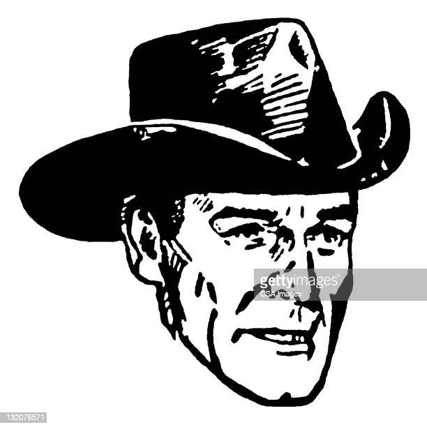close up of cowboy in hat - cowboy hat stock illustrations, clip art, cartoons, & icons