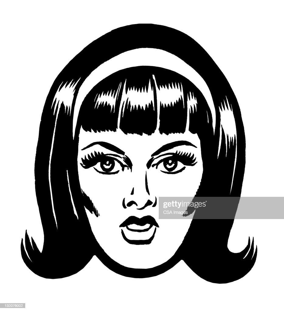 Black and white graphic female hair headband
