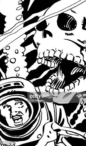 close up of diver and skeleton - scuba mask stock illustrations