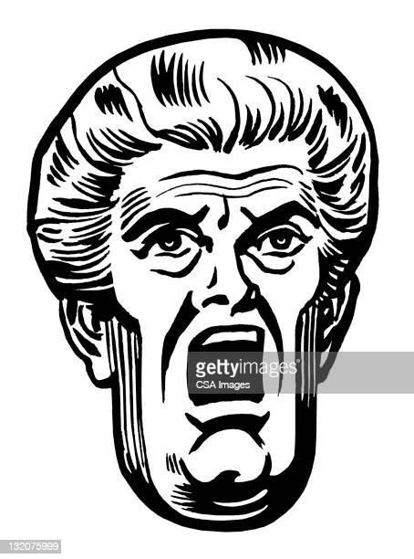 高齢者の女性のクローズアップの細長いの顔