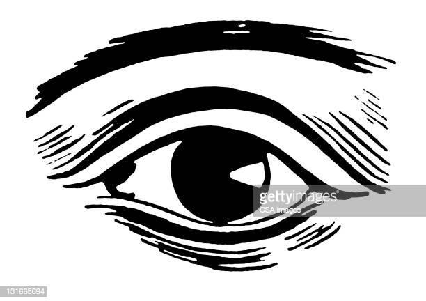 close up of eye - biomedical illustration stock illustrations