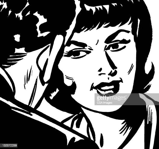 close up of man and woman - seduction stock illustrations, clip art, cartoons, & icons