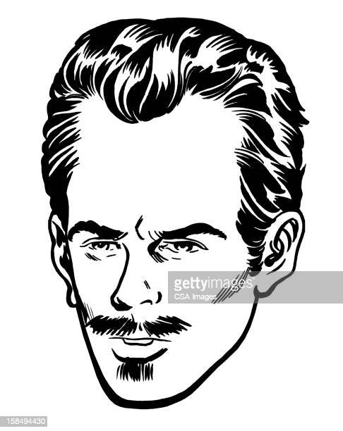 close up of man with goatee and mustache - balding stock illustrations
