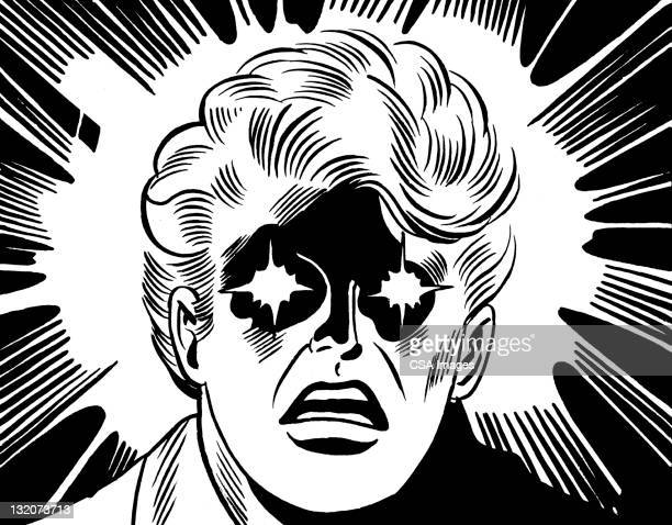 close up of man with stars in his eyes - hypnosis stock illustrations