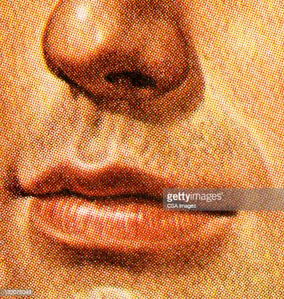 close up of man's nose and mouth - human nose stock illustrations