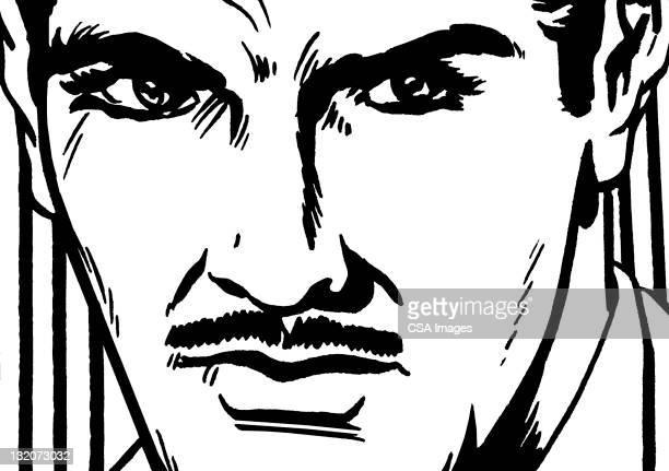 Close up of Mustache Man