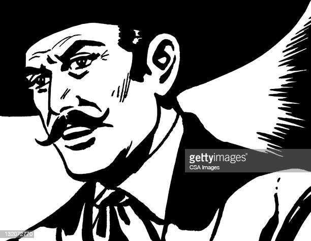 ilustrações, clipart, desenhos animados e ícones de close-up de bigode homem vestindo sombrero - sombreiro