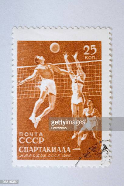Close up of russian post stamp with volleyball scene
