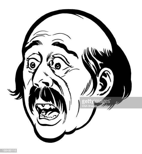 close up of shocked bald man - gasping stock illustrations, clip art, cartoons, & icons