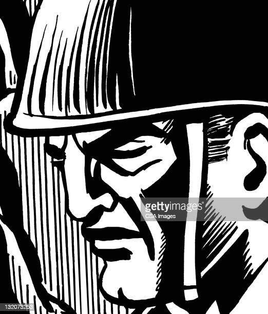 close up of soldier's face - army helmet stock illustrations, clip art, cartoons, & icons