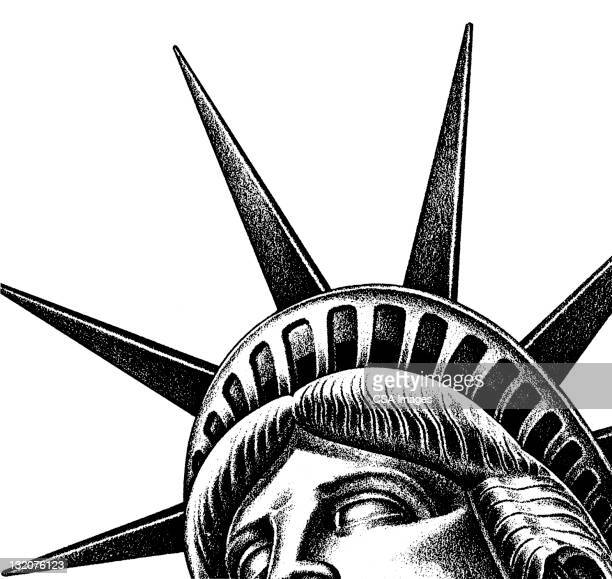 close up of statue of liberty - crown close up stock illustrations