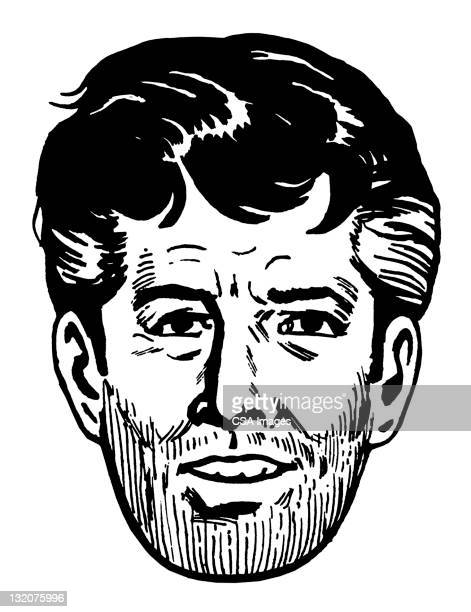 Close up of Unshaven Dark Haired Man