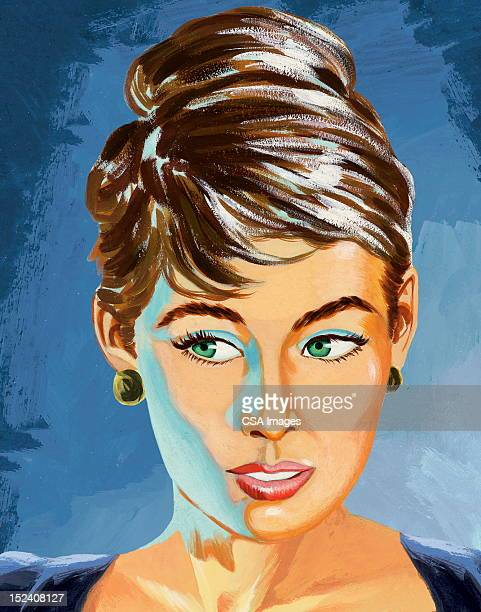 close up of woman with updo - updo stock illustrations, clip art, cartoons, & icons