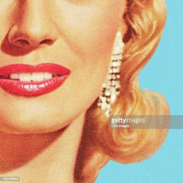 close up of woman's face - beautiful woman stock illustrations
