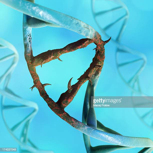 close up on dna chain with a sinister mutation - genetic mutation stock illustrations