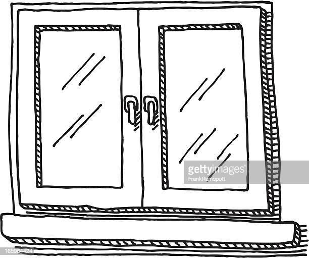 ilustraciones, imágenes clip art, dibujos animados e iconos de stock de ventana cerrada dibujo - ventana
