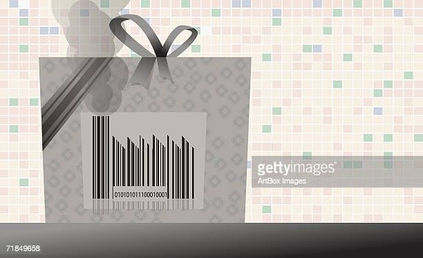 close-up of a bar code on a shopping bag - number of people stock illustrations, clip art, cartoons, & icons