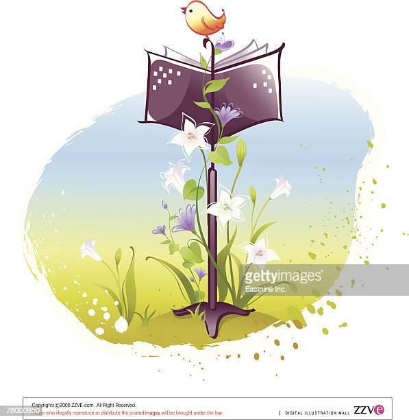 illustrations, cliparts, dessins animés et icônes de close-up of a bird perching on a music stand and singing - pupitre à musique