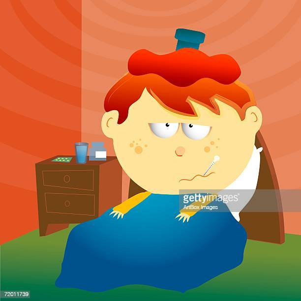 close-up of a boy lying on the bed with an ice pack on his head - lying on back stock illustrations, clip art, cartoons, & icons