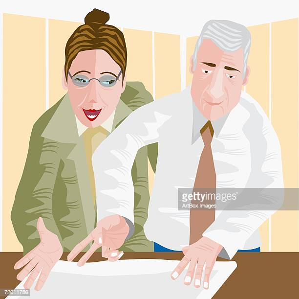close-up of a businessman and a businesswoman discussing a blueprint - 45 49 years stock illustrations, clip art, cartoons, & icons