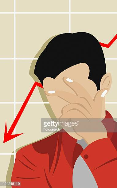 close-up of a businessman touching his forehead - disappointment stock illustrations