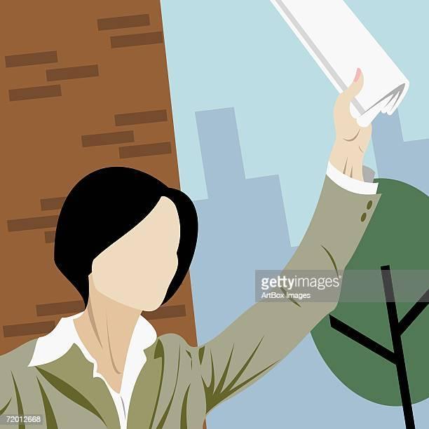 ilustraciones, imágenes clip art, dibujos animados e iconos de stock de close-up of a businesswoman hailing a taxi - miembro humano
