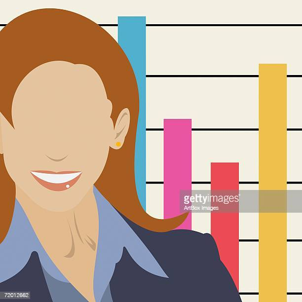 close-up of a businesswoman in front of a bar graph - hair color stock illustrations, clip art, cartoons, & icons