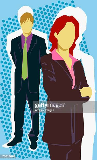 Close-up of a businesswoman standing in front of a businessman