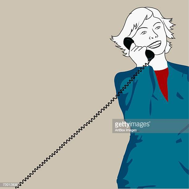close-up of a businesswoman talking on the telephone - phone cord stock illustrations, clip art, cartoons, & icons