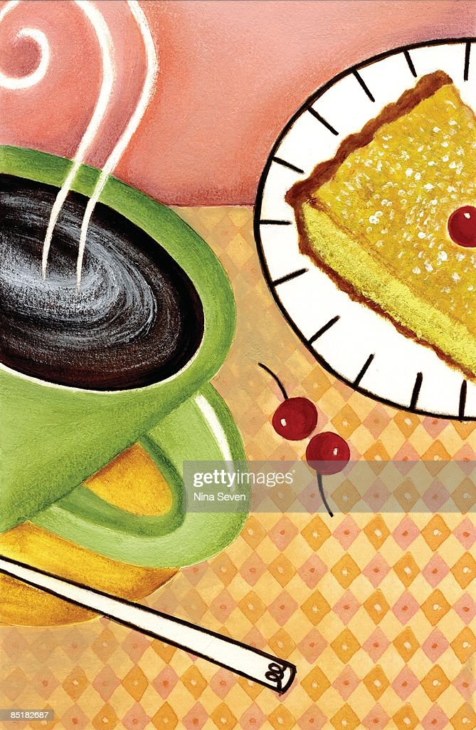 closeup of a cup of coffee a piece of pie and cherries ストック