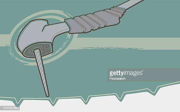 close-up of a dental drill - dental drill stock illustrations