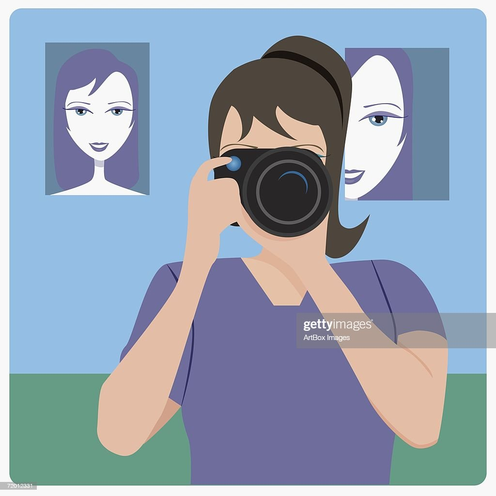 Close-up of a female photographer taking a photograph : stock illustration