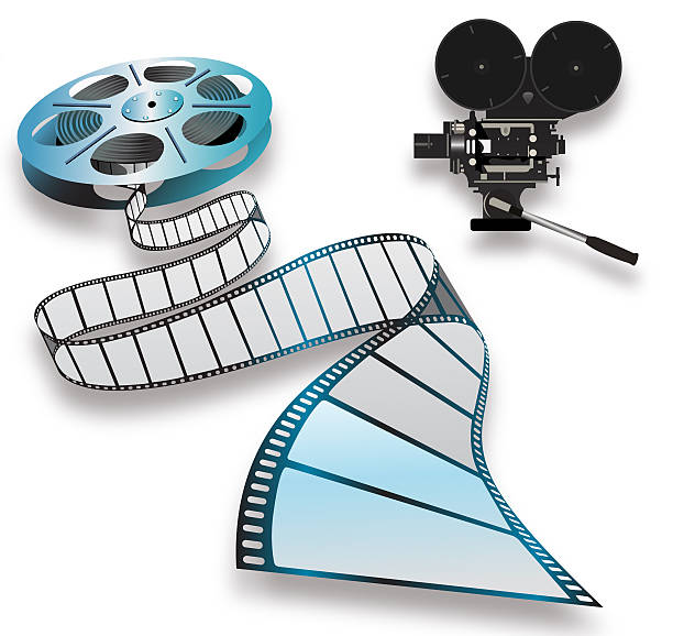 Close-up of a film reel and camera